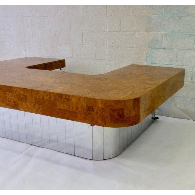1970s Paul Evans for Directional Burl Top City Scape Desk For Sale - Image 5 of 9