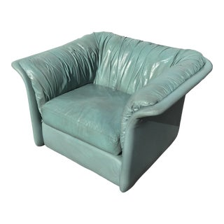 1980s Contemporary Light Blue Leather Hickory Nc Club Chair For Sale
