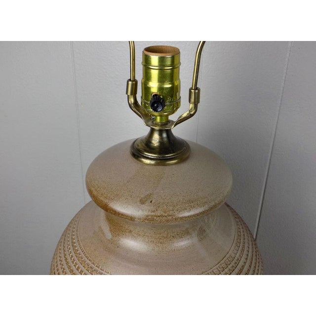 1970s Italian Incised Pottery Table Lamp For Sale - Image 11 of 13