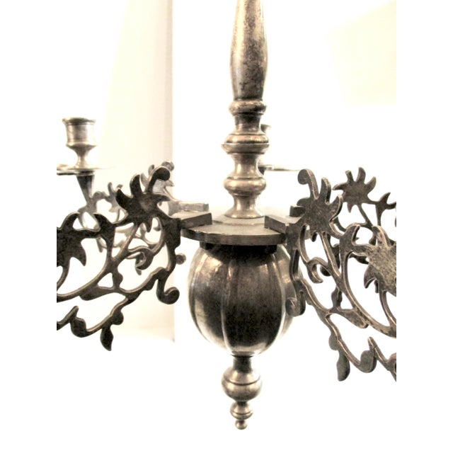 French French Silver Plate Bronze Candle and Oil Chandelier For Sale - Image 3 of 11