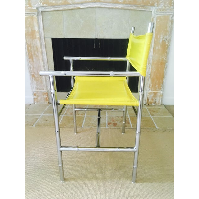 Mid-Century Chrome Arm Chair in Yellow - Image 5 of 8