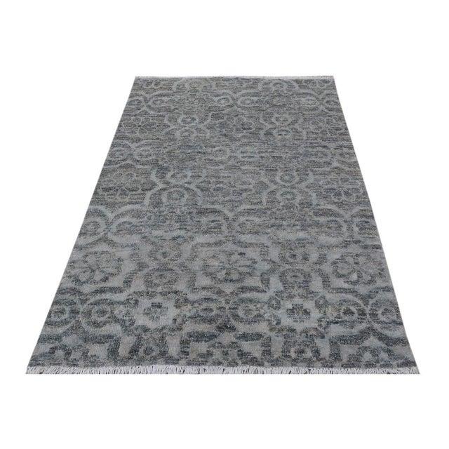 "Silk Kafkaz Peshawar Rosalia Gray/Gray Wool & Viscouse Rug - 3'11"" X 5'9"" For Sale - Image 7 of 8"