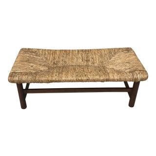 Mid-Century Modern Raffia Bench