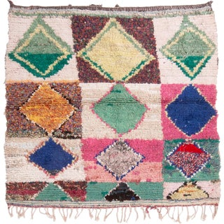 Contemporary Moroccan Geometric Diamond Rug - 4′7″ × 4′8″ For Sale