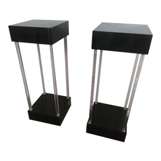 Mid Century Lucite and Acrylic Pedestal Columns - a Pair For Sale