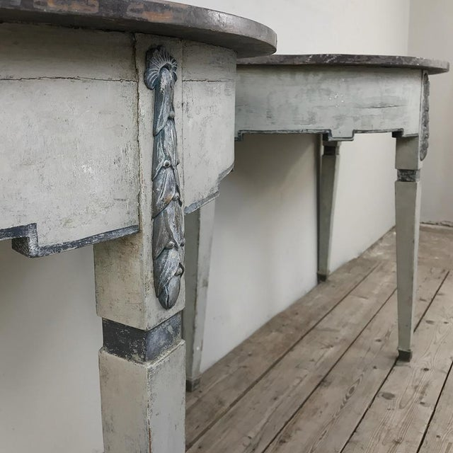 Pair 19th Century Swedish Painted Demilune Consoles For Sale - Image 9 of 13