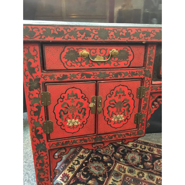 Antique Chinese Red Lacquer Desk For Image 4 Of 9