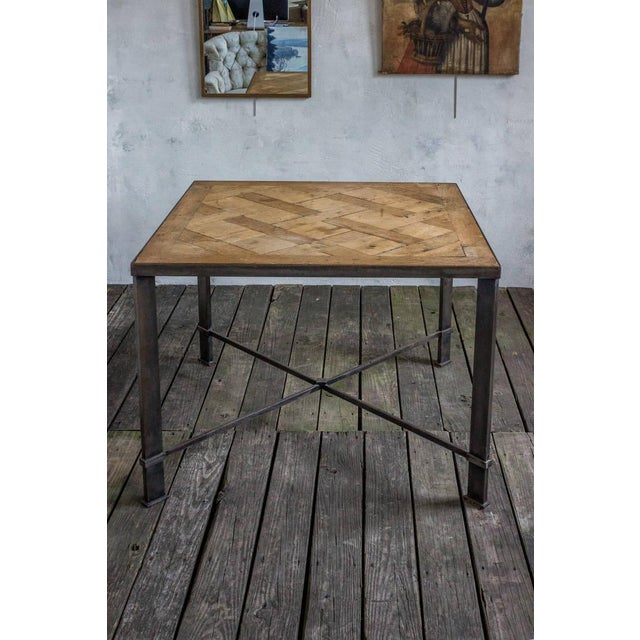French French Iron Table With 19th Century Wood Top For Sale - Image 3 of 9