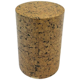 1970s Cork Drum Occasional Table For Sale