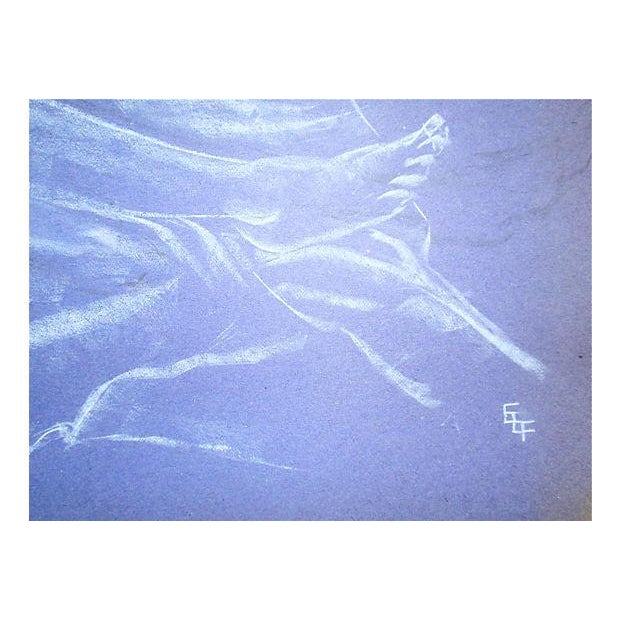 Figurative Mid-Century Reclining Nude Pastel Drawing For Sale - Image 3 of 4