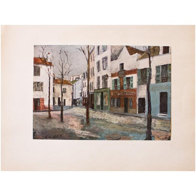 """Turquoise 1950s Maurice Utrillo First Edition Lithograph """"Place Du Tertre"""" For Sale - Image 8 of 8"""