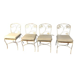Rustic White Garden Chairs - Set of 4