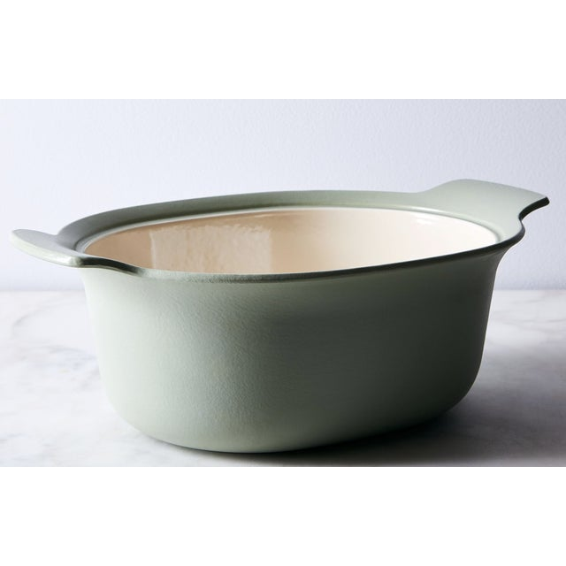 Berghoff Cast Iron Oval Casserole 5.5 Quart, Heavy Lid locks in moisture. Good for slow simmers.