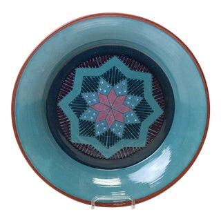 Vintage Turquoise Pottery Charger For Sale