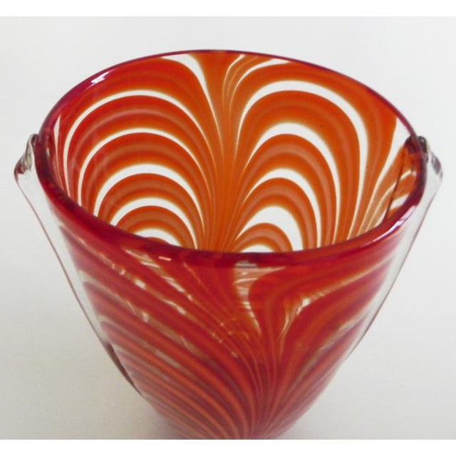Hand Blown Clear Glass Vase Infused With Red-Orange Ribbon Pattern For Sale - Image 9 of 10