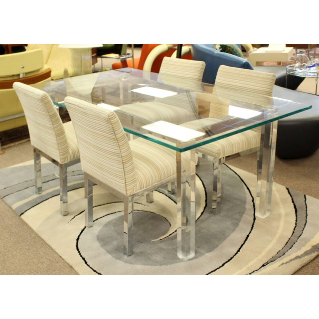 Transparent 1970s Mid-Century Modern Hollis Jones Glass & Lucite Chrome Dining Table For Sale - Image 8 of 10