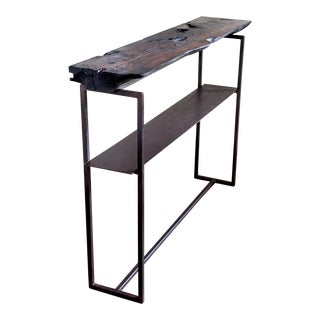 "Organic Modern Shou Sugi Ban Long-Leaf Pine Welded Metal Entry Console - 48"" For Sale"
