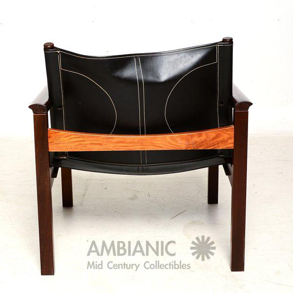 Pair of Leather & Rosewood Michel Arnoult Safari Armchairs For Sale In San Diego - Image 6 of 9
