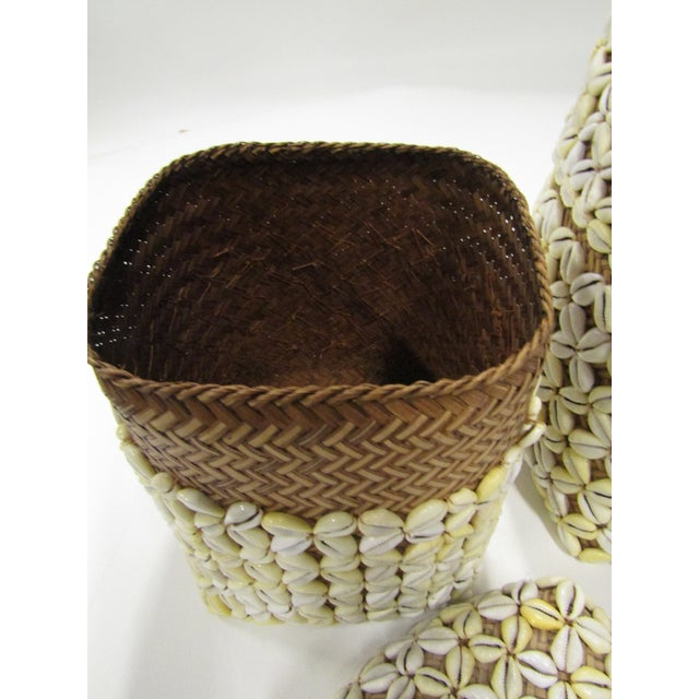 Boho Chic Shell Storage Baskets With Lids From Hawaii - A Pair For Sale - Image 3 of 8