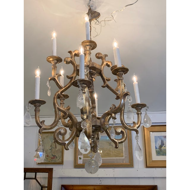 Giltwood Chandelier With Very Large Rock Crystals For Sale - Image 13 of 13