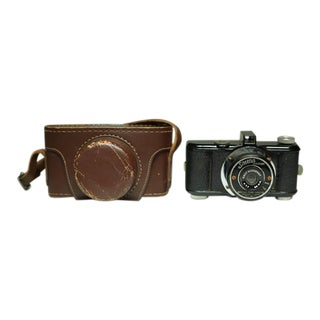 Mid-Century Camera With Leather Case C. 1950s For Sale