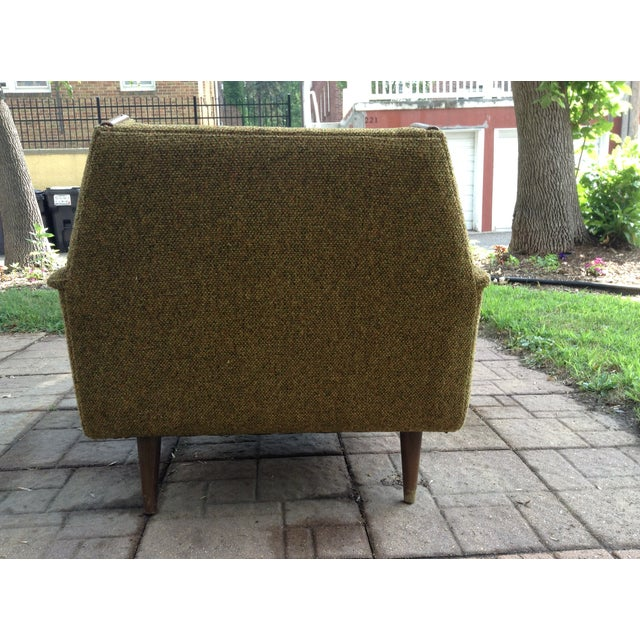 1960s Mid-Century Modern Army Green Wool Side Chair For Sale - Image 4 of 8