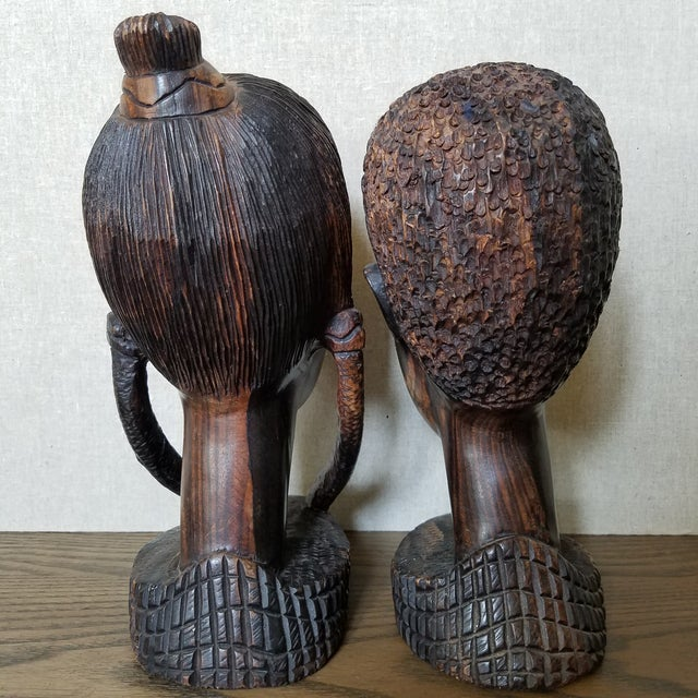 African Zebra Wood Male & Female Busts, a Pair For Sale In Dallas - Image 6 of 9
