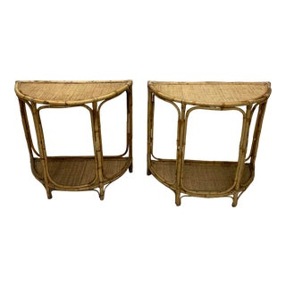 Bamboo Demi Lune Hall Tables - a Pair For Sale