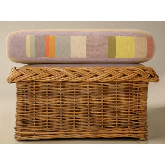 "Vintage Italian Les Toiles Du Soleil Upholstered ""Wicker Works"" Bench - Image 11 of 11"