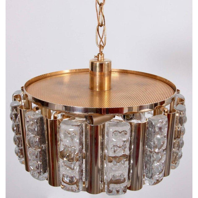 Orrefors Pair of Carl Fagerlund Pendant Lamps in Brass and Orrefors Glass by Lyfa For Sale - Image 4 of 5