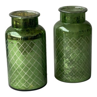 Vintage Green Mercury Glass Jars - a Pair For Sale