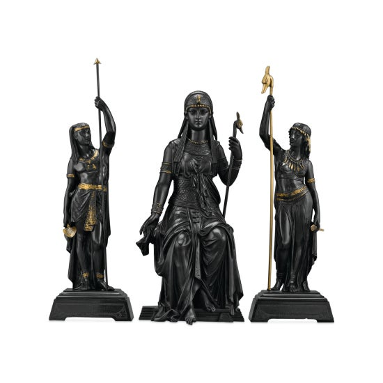 The Egyptian goddess Isis strikes a regal pose in this extraordinary group of bronze figures by famed French sculptor...