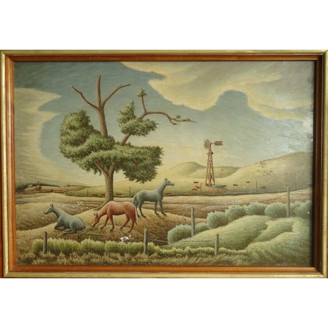 Folk Art 1952 Aaron Pyle Landscape With Horses Regionalist Painting For Sale - Image 3 of 11