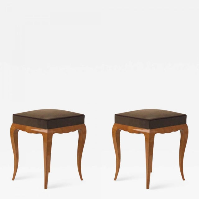 Rene Prou Refined Solid Sycamore Pair of Stools For Sale - Image 6 of 6