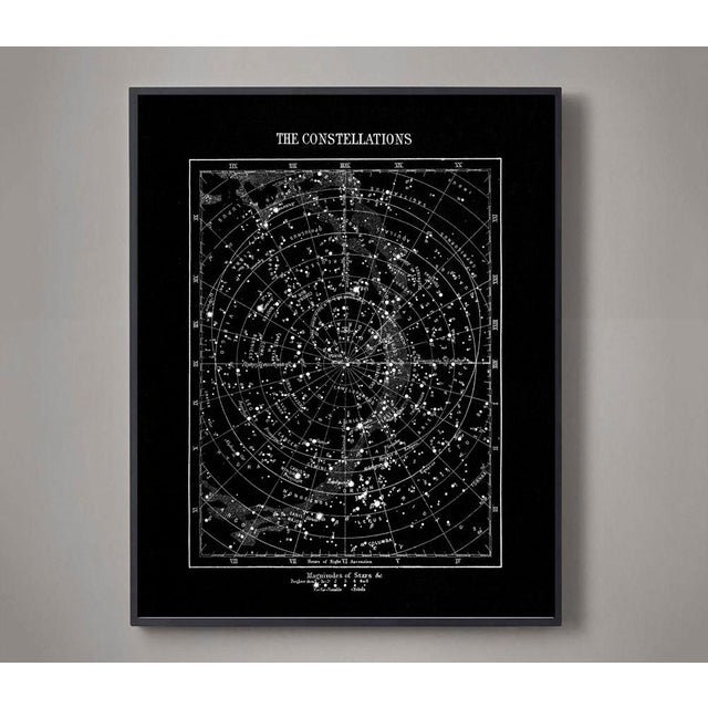 Industrial Vintage Constellations Print With Stars Unframed Black For Sale - Image 3 of 3