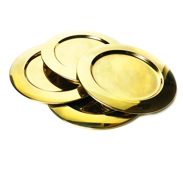 Vintage Gold Aluminum Charger Plates - Set of 4 For Sale - Image 4 of 4