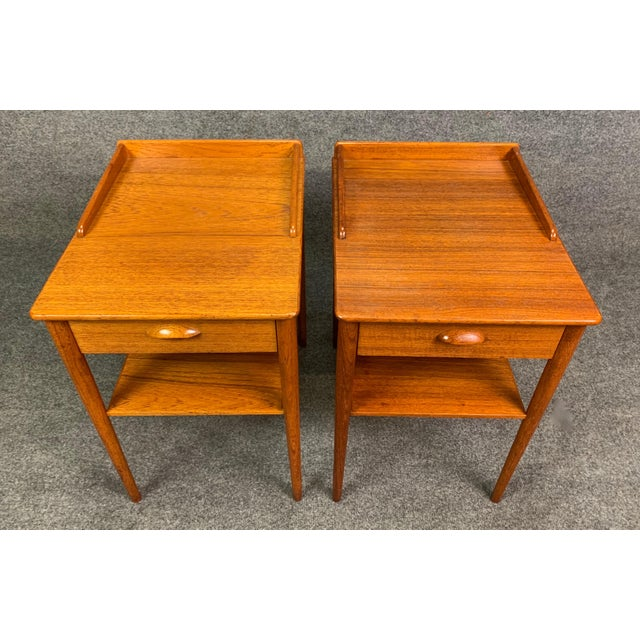 1960s Pair of Vintage Danish Mid Century Modern Teak Side Tables by Erik Andersson For Sale - Image 5 of 10