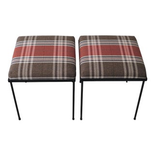Bespoke Pair of Black Iron Stools with Plaid Upholstery For Sale