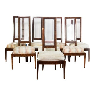Lucite & Birdseye Maple Veneer Dining Chairs - Set of 8