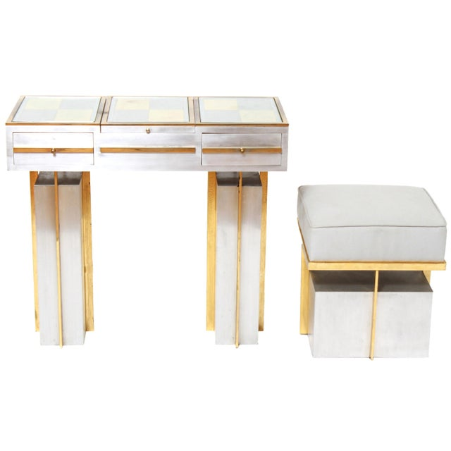 Modern Steel Vanity Table and Stool In Style Of Maison Jansen - a Pair For Sale - Image 13 of 13