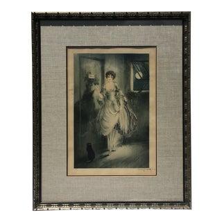 """1927 Vintage Louis Icart """"Au Clair De La Lune"""" Hand Signed Aquatint Etching Print For Sale"""