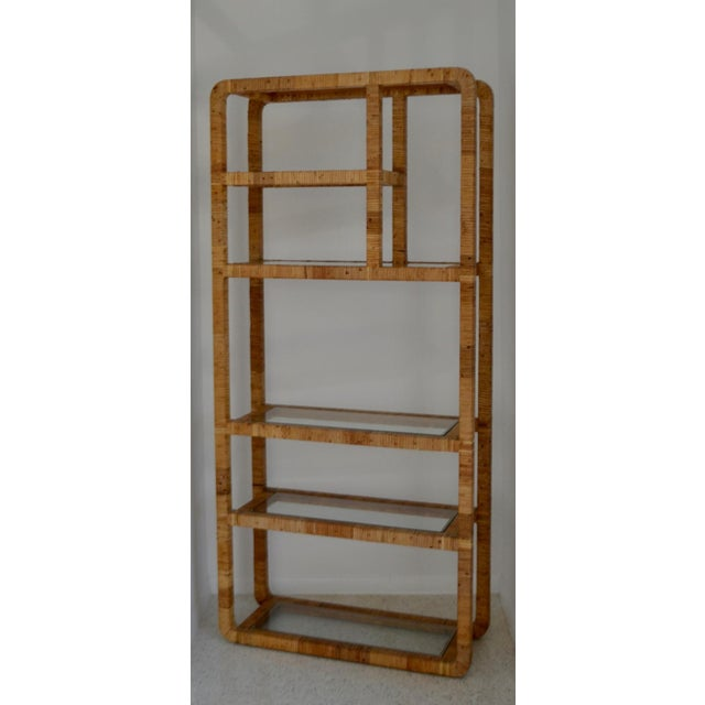 Mid-Century Rattan Bookcase For Sale - Image 9 of 13