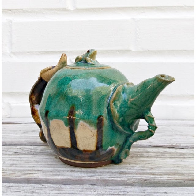 Boho Chic Handmade Pottery Frog Teapot For Sale - Image 3 of 7