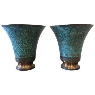 Carl Sorensen Verdigris Art Deco Signed Bronze Vases - A Pair For Sale