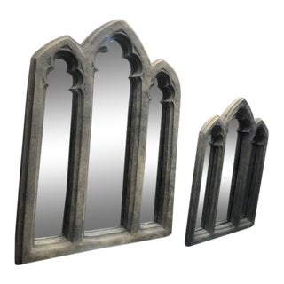 Antique Style Gothic Style Triple Arch Mirrors - a Pair For Sale
