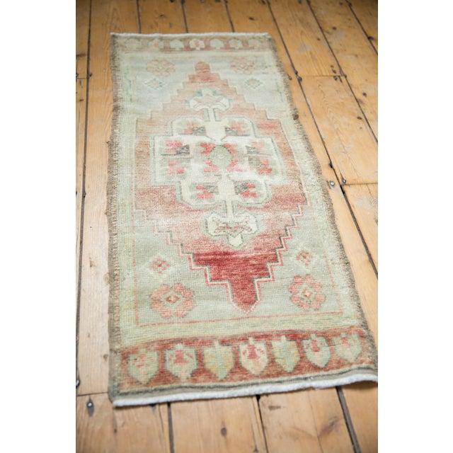 "Textile Vintage Distressed Oushak Rug Mat Runner - 1'7"" X 3'6"" For Sale - Image 7 of 8"