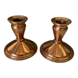 1970s Classical Copper Candleholders - a Pair For Sale