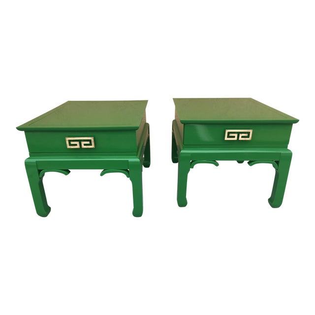 1960s Asian High Gloss Green Side Tables - a Pair For Sale