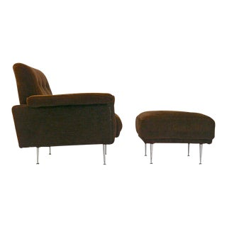 Rare George Nelson Thin Edge Lounge Chair and Ottoman For Sale