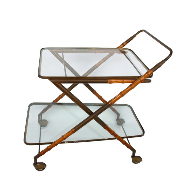 Italian 1950 Cesare Lacca Brass Serving Cart For Sale - Image 3 of 8